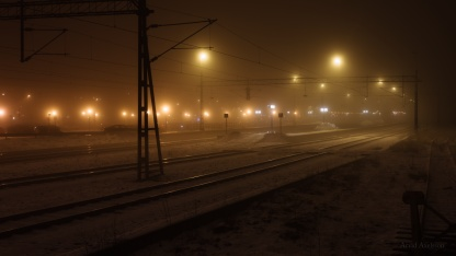 Train station in fog