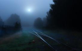 Railway in fog
